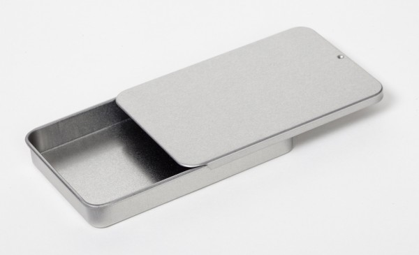 rechteckige Blechdose mit Schiebedeckel (100x65x13mm)