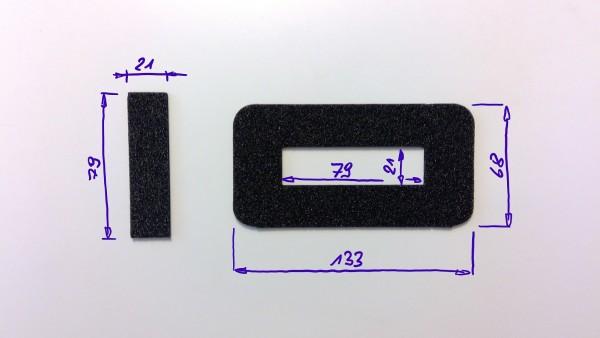 Schaumstoffeinsatz / Einlage 133x68mm mit Ausschnitt 79x21mm / PL632