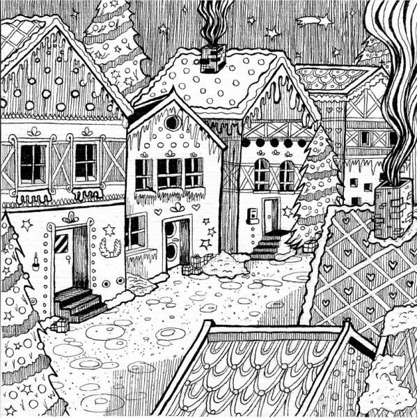 Druckdesign Weihnachtsstadt