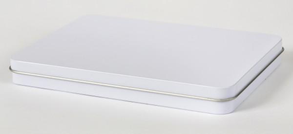 weisse rechteckige Blechdose mit Scharnierdeckel (222x156x25mm)