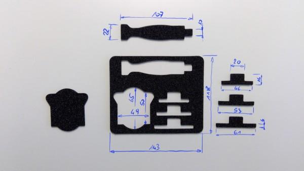 Schaumstoffeinsatz / Einlage 143x118mm / PL635