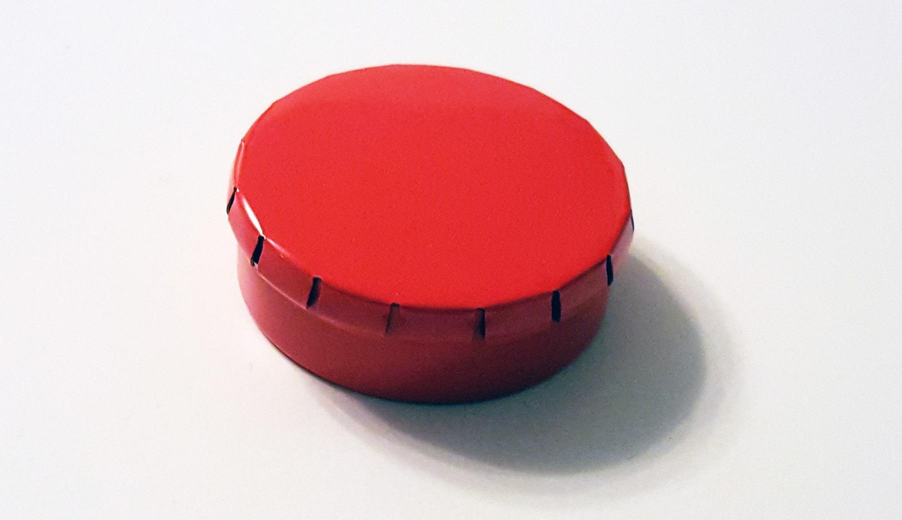 runde blechdose mit klick klack deckel d45 15mm rot. Black Bedroom Furniture Sets. Home Design Ideas