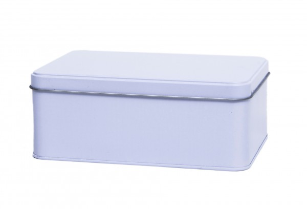 weisse rechteckige Blechdose mit Stülpdeckel (192x127x75mm)