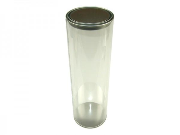 Runddose mit Klarsicht-Rumpf und Stülpdeckel aus Weissblech (D102*320mm)