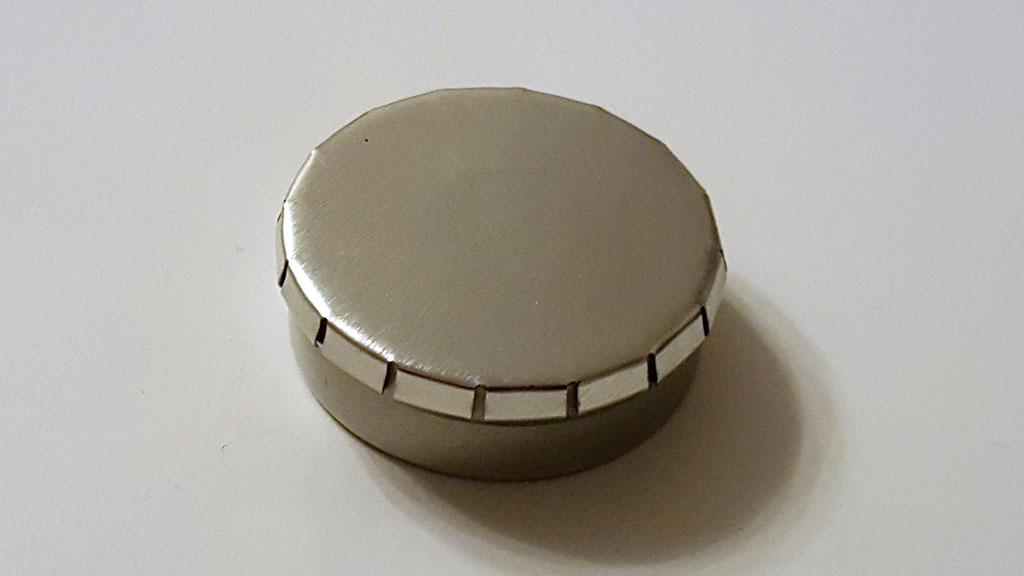 runde blechdose mit klick klack deckel d45 15mm silber. Black Bedroom Furniture Sets. Home Design Ideas