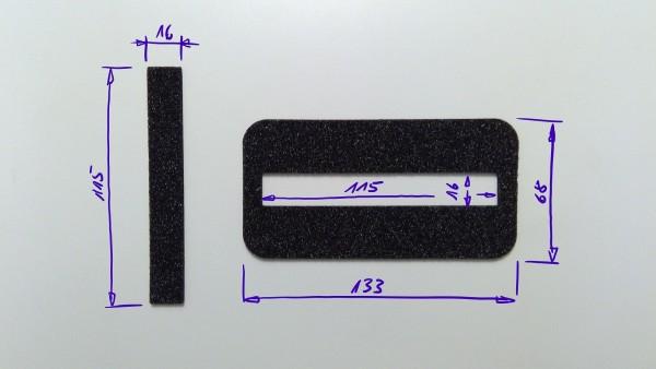 Schaumstoffeinsatz / Einlage 133x68mm mit Ausschnitt 115x16mm / PL632
