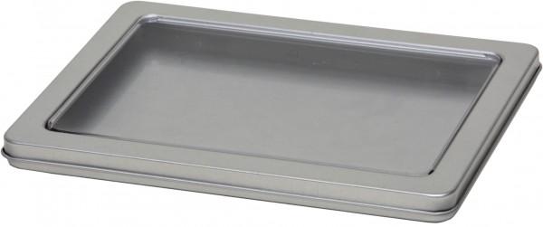 Blechdose mit Scharnierdeckel und Sichtfenster (155x112x10mm)