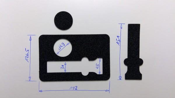 Schaumstoffeinsatz / Einlage 192x126mm / PL728, PL393, WIN915