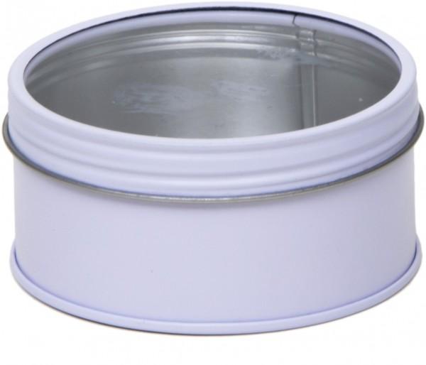 weisse runde Schraubdeckeldose mit Fenster (d86x44mm)