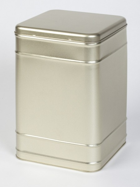 goldene Blechdose mit Scharnierdeckel (167x167x255mm)