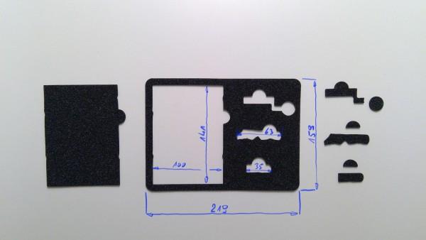 Schaumstoffeinsatz / Einlage 220x160mm / GDO-A535, PL726, WR240, WIN889, PL420