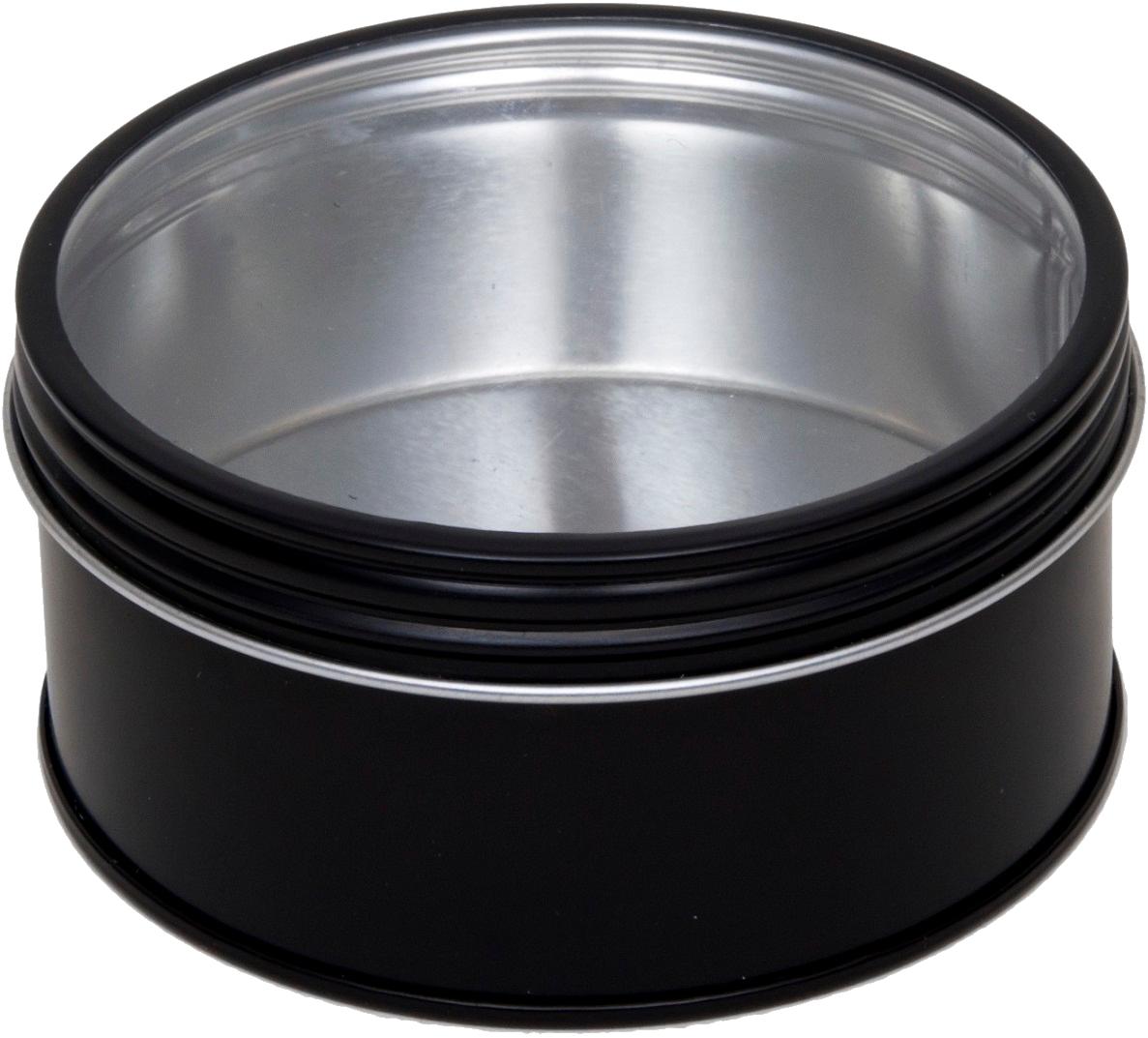 Schwarze runde schraubdeckeldose mit fenster d86x44mm - Schwarze fenster ...
