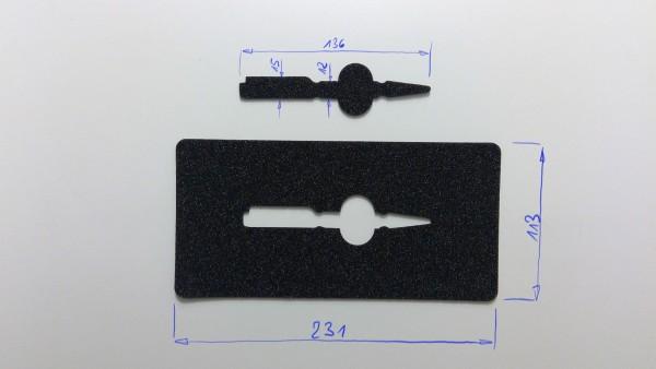 Schaumstoffeinsatz / Einlage 231x113mm / PL631, WIN665