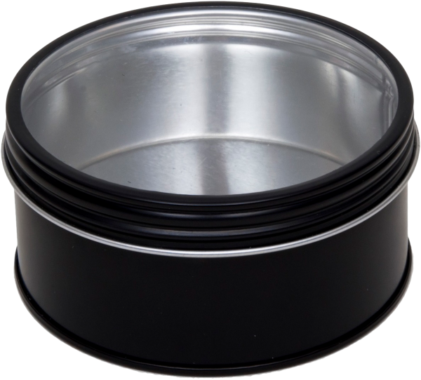 schwarze runde Schraubdeckeldose mit Fenster (d86x44mm)