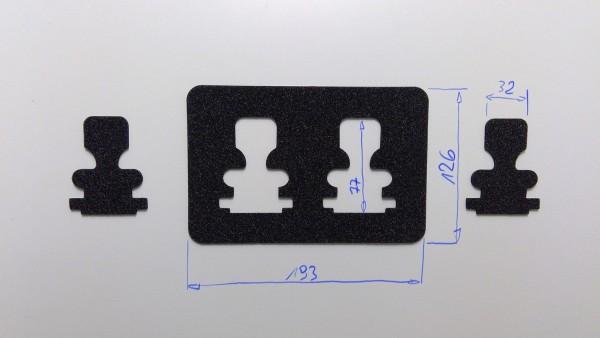 Schaumstoffeinsatz / Einlage 193x126mm / PL728, PL393, WIN915