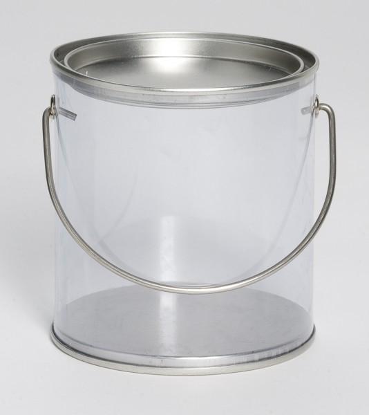 durchsichtige Runddose mit Henkel (85x91mm)