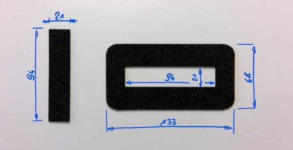 Schaumstoffeinsatz / Einlage 133x68mm mit Ausschnitt 94x21mm / PL632