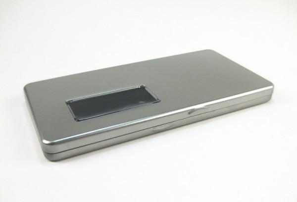 Blechdose mit Scharnierdeckel und Sichtfenster (235x120x19.5mm) ALT: GDO-1101