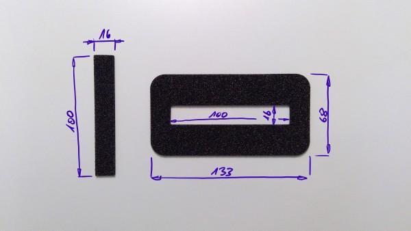 Schaumstoffeinsatz / Einlage 133x68mm mit Ausschnitt 100x16mm / PL632