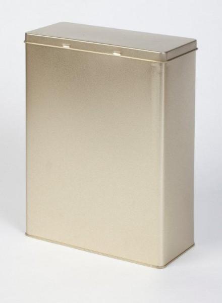 goldene Blechdose mit Scharnierdeckel (191x87x255mm)