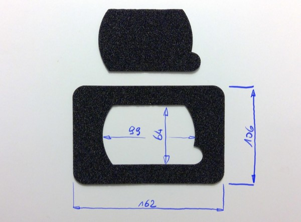 Schaumstoffeinsatz / Einlage 162x106mm / PL725