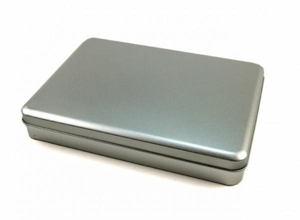 DIN-A5 Blechdose mit Scharnierdeckel (221x162x35mm)