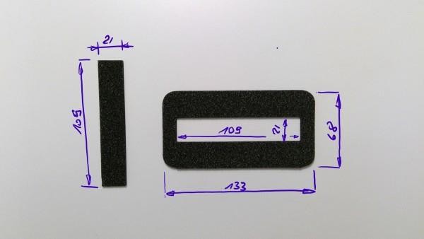 Schaumstoffeinsatz / Einlage 133x68mm mit Ausschnitt 109x21mm / PL632
