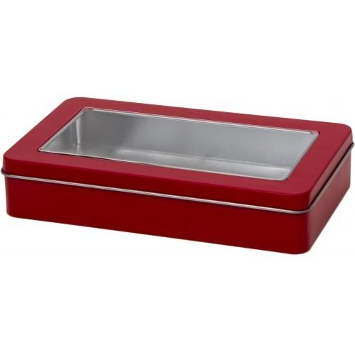 rote rechteckige Dose mit Stülpdeckel und Fenster (189x112x35mm)