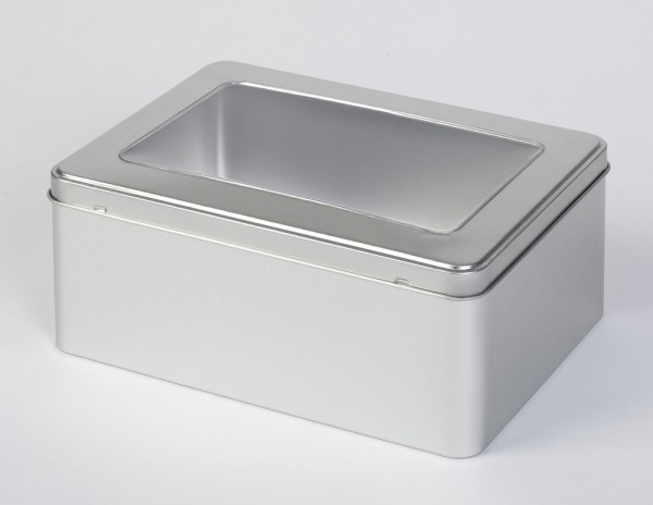 Scharnierdeckeldose mit Sichtfenster (220x160x90mm)