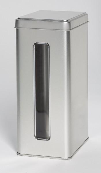 rechteckige Blechdose mit Sichtfenster und Stülpdeckel (110x73x178mm)
