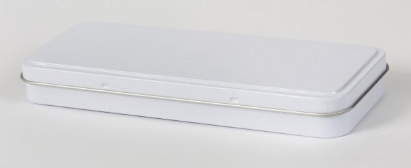 weisse rechteckige Blechdose mit Scharnierdeckel (181x76x22mm)