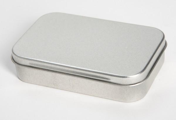 rechteckige Blechdose mit Scharnierdeckel (95x60x21mm)
